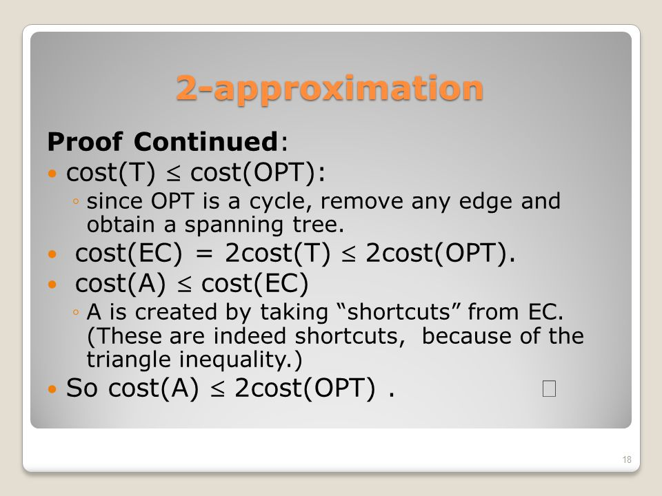 2-approximation Proof Continued: cost(T)  cost(OPT):