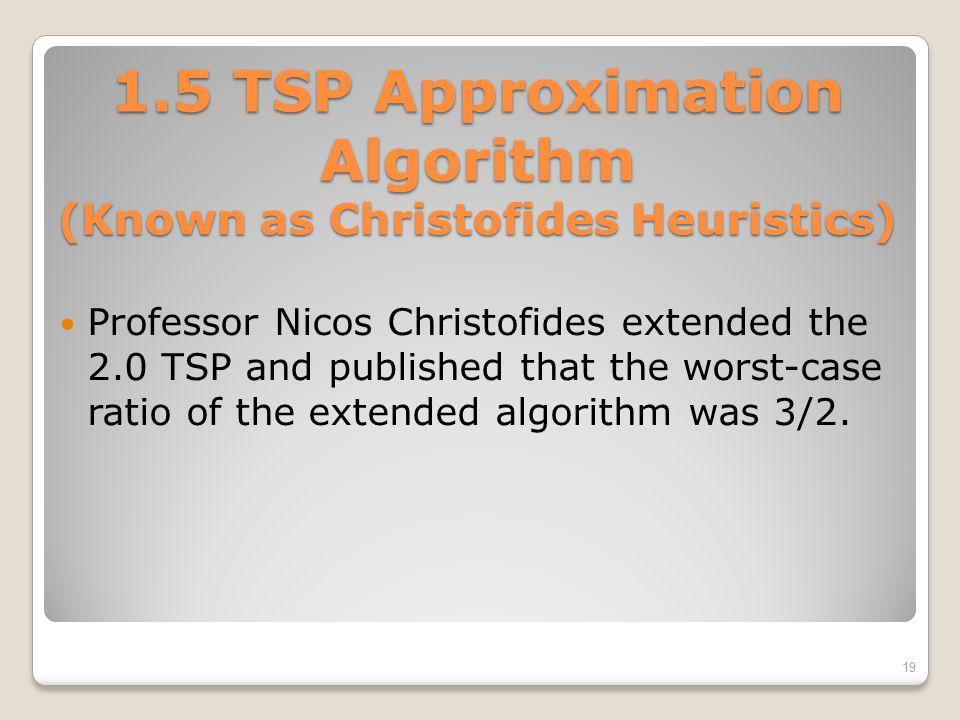1.5 TSP Approximation Algorithm (Known as Christofides Heuristics)