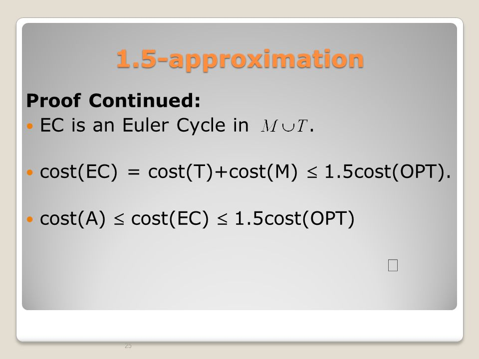 1.5-approximation Proof Continued: EC is an Euler Cycle in .