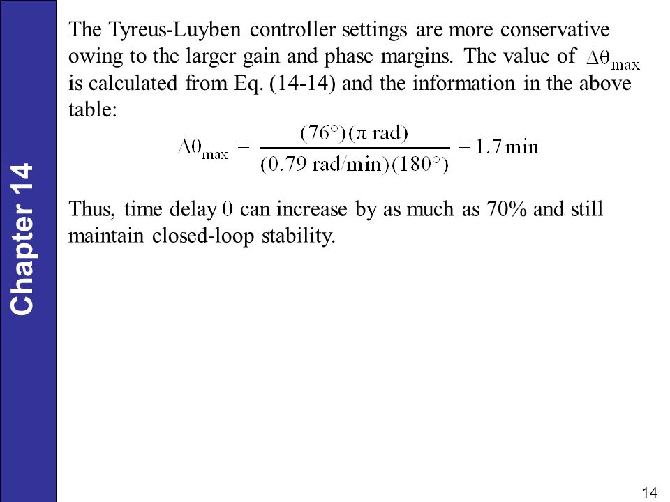The Tyreus-Luyben controller settings are more conservative owing to the larger gain and phase margins. The value of is calculated from Eq. (14-14) and the information in the above table:
