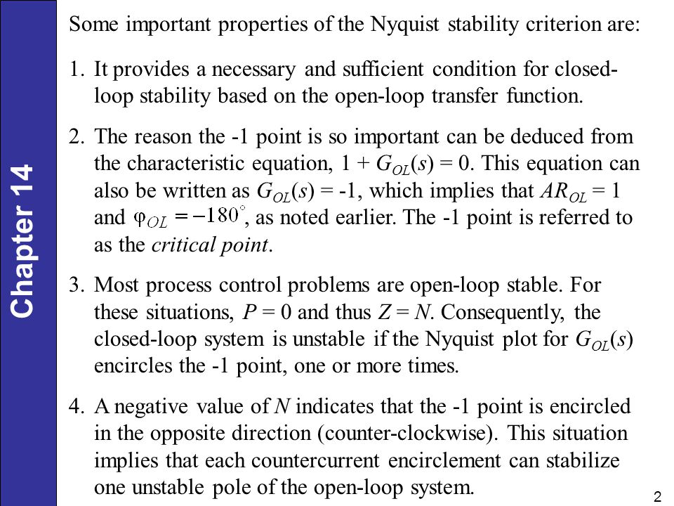 Some important properties of the Nyquist stability criterion are: