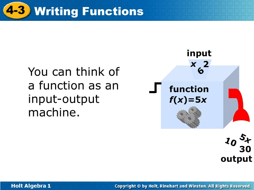 You can think of a function as an input-output machine.