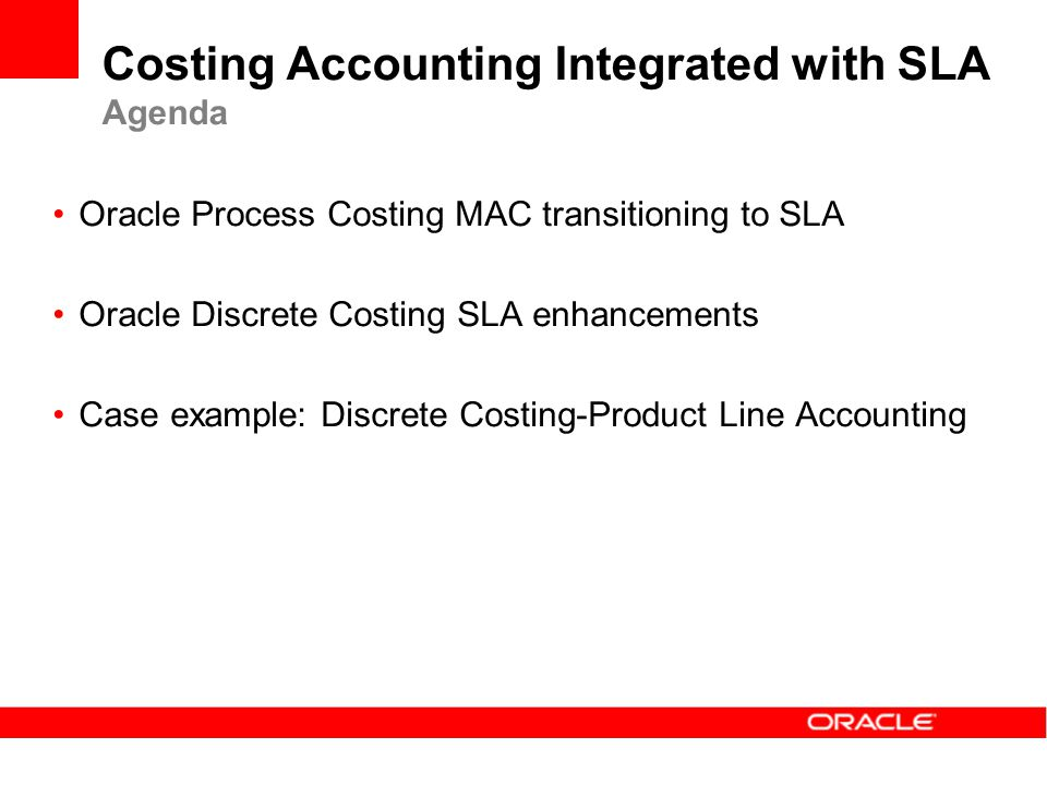 Costing Accounting Integrated with SLA Agenda