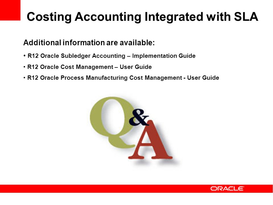 Costing Accounting Integrated with SLA