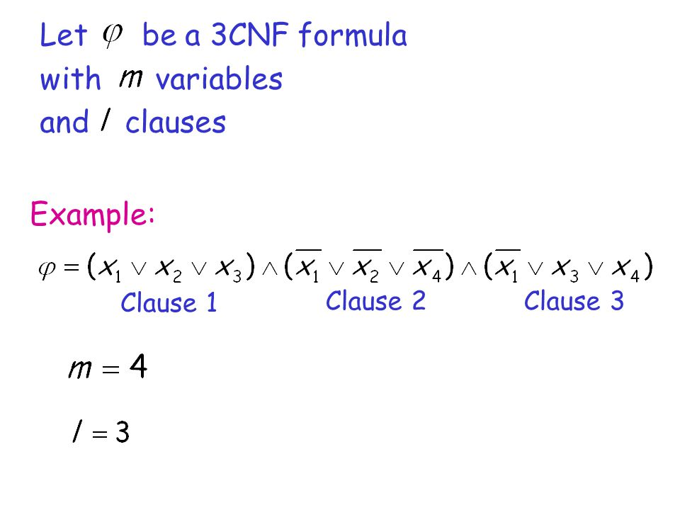 Let be a 3CNF formula with variables and clauses Example: Clause 1