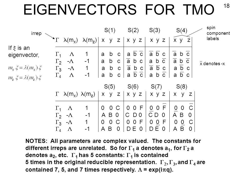 EIGENVECTORS FOR TMO 18 S(1) S(2) S(3) S(4)