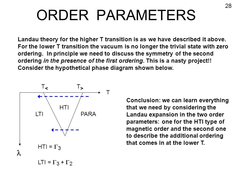 ORDER PARAMETERS 28. Landau theory for the higher T transition is as we have described it above.