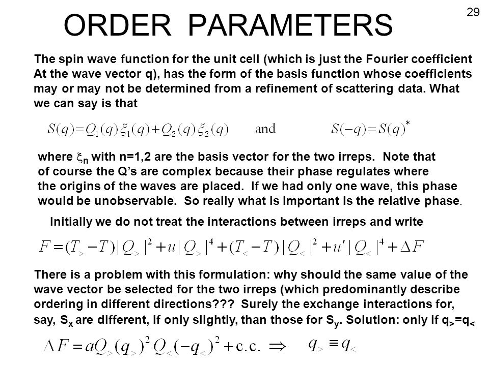 ORDER PARAMETERS 29. The spin wave function for the unit cell (which is just the Fourier coefficient.