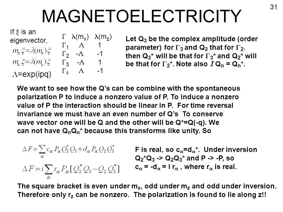 MAGNETOELECTRICITY L=exp(ipq) 31 If x is an eigenvector, l(mx) l(mz)