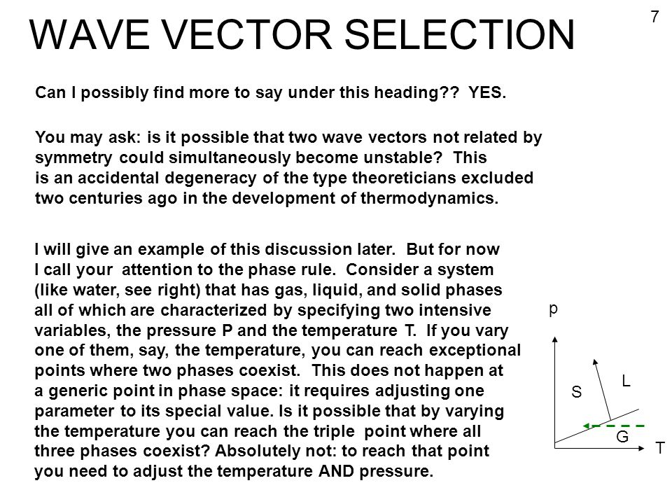 WAVE VECTOR SELECTION 7. Can I possibly find more to say under this heading YES.