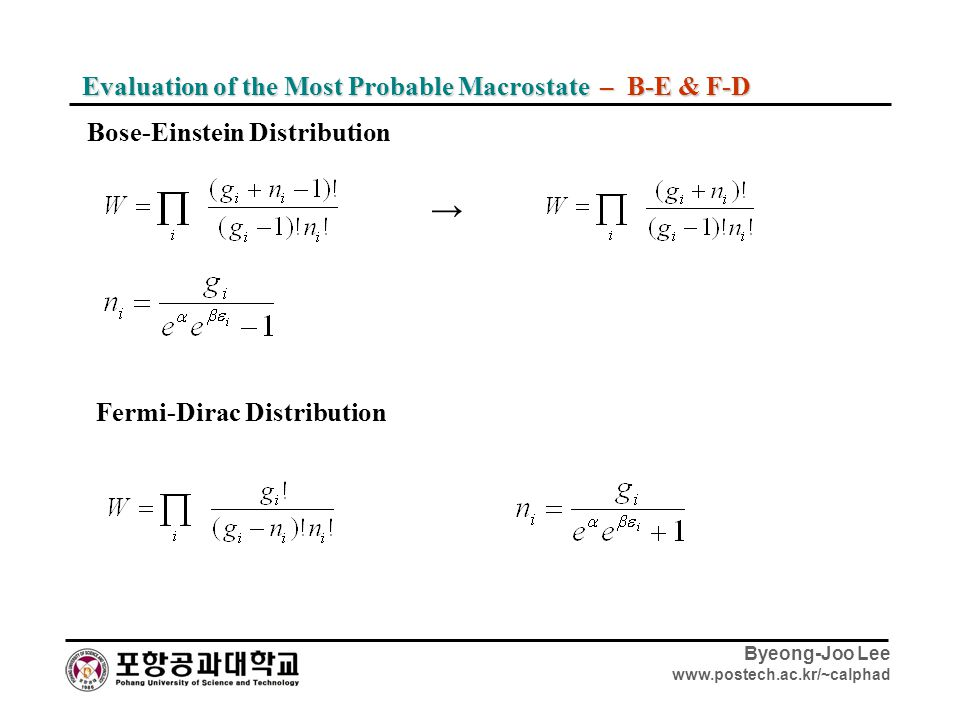 → Evaluation of the Most Probable Macrostate – B-E & F-D