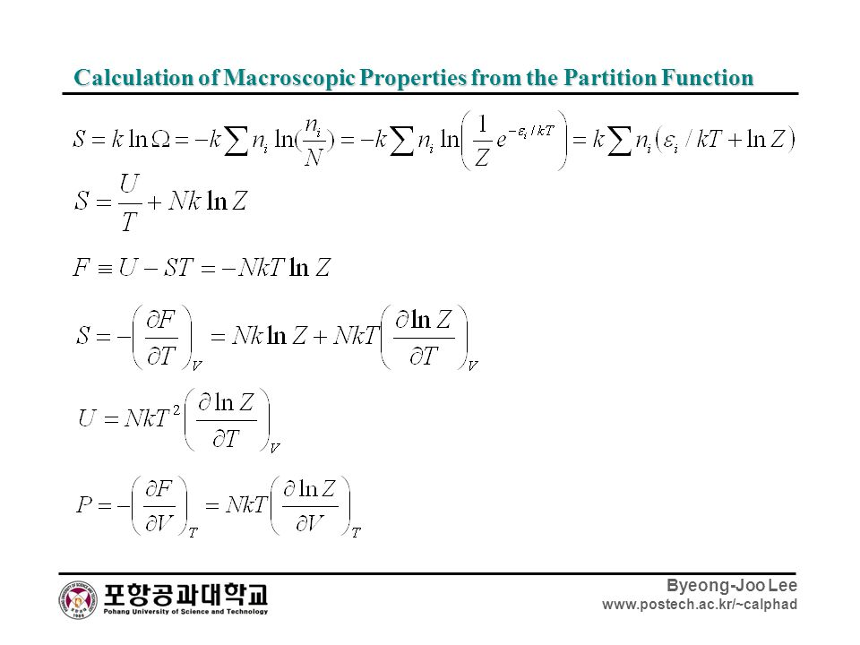 Calculation of Macroscopic Properties from the Partition Function