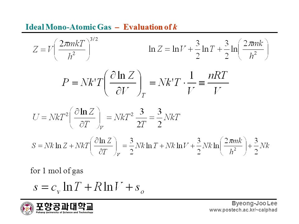 Ideal Mono-Atomic Gas – Evaluation of k