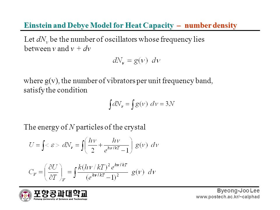 Einstein and Debye Model for Heat Capacity – number density