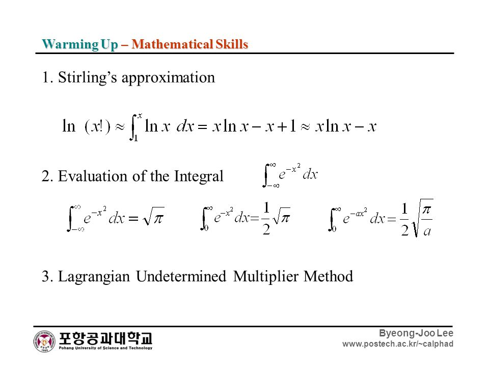 1. Stirling's approximation