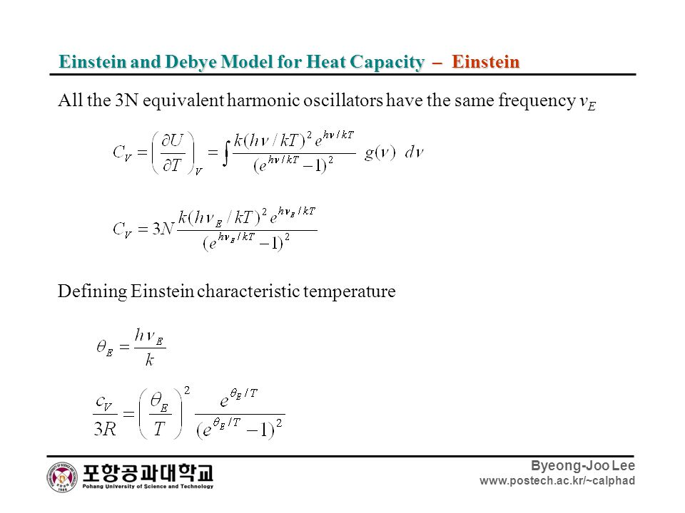 Einstein and Debye Model for Heat Capacity – Einstein