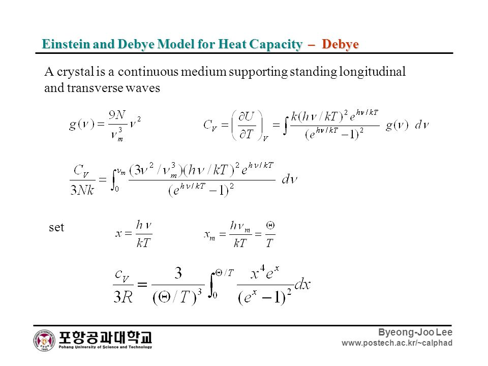 Einstein and Debye Model for Heat Capacity – Debye