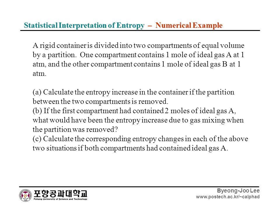 Statistical Interpretation of Entropy – Numerical Example