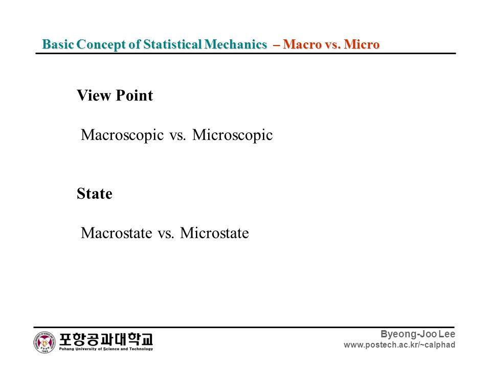 Macroscopic vs. Microscopic