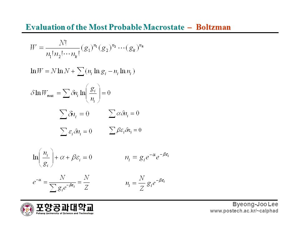 Evaluation of the Most Probable Macrostate – Boltzman