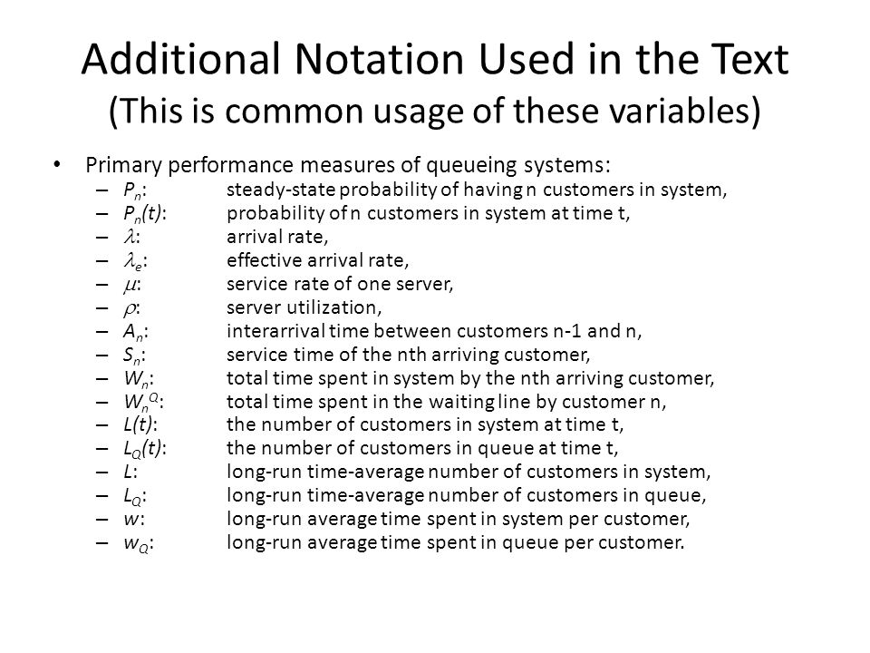 Additional Notation Used in the Text (This is common usage of these variables)