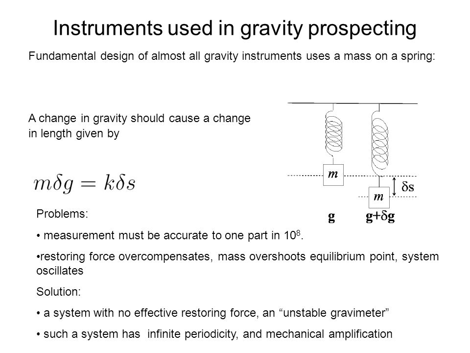 Instruments used in gravity prospecting