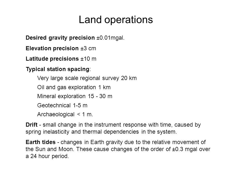 Land operations Desired gravity precision ±0.01mgal.