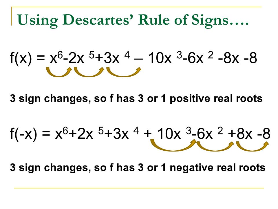 Using Descartes' Rule of Signs….