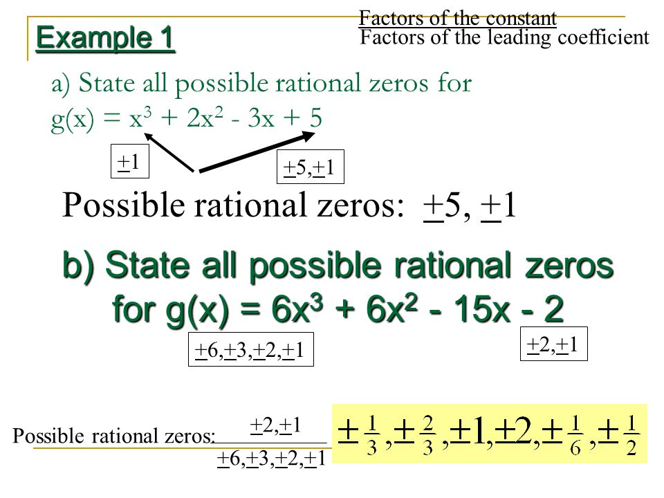 a) State all possible rational zeros for g(x) = x3 + 2x2 - 3x + 5