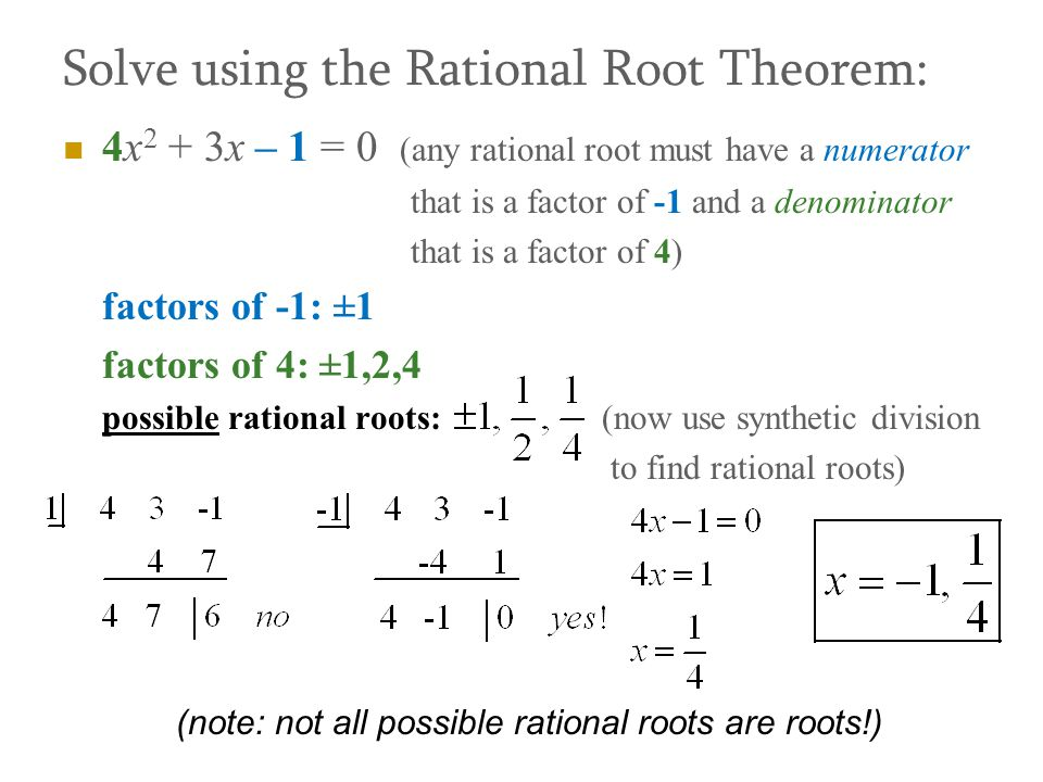 Solve using the Rational Root Theorem: