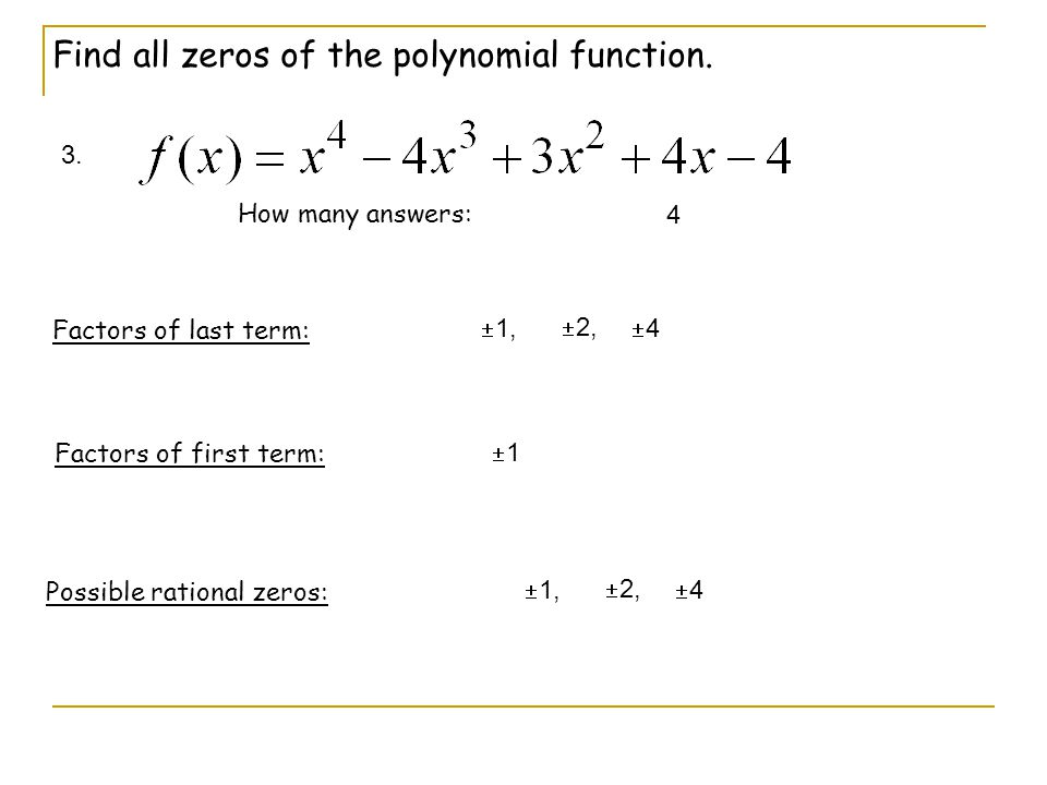 Find all zeros of the polynomial function.