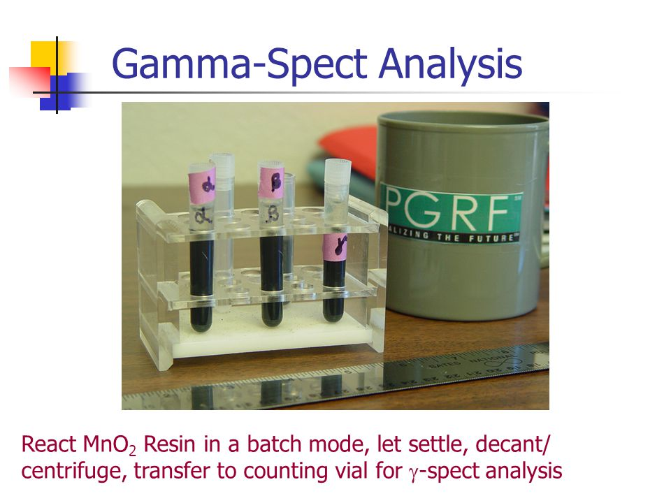 Gamma-Spect Analysis React MnO2 Resin in a batch mode, let settle, decant/ centrifuge, transfer to counting vial for g-spect analysis.