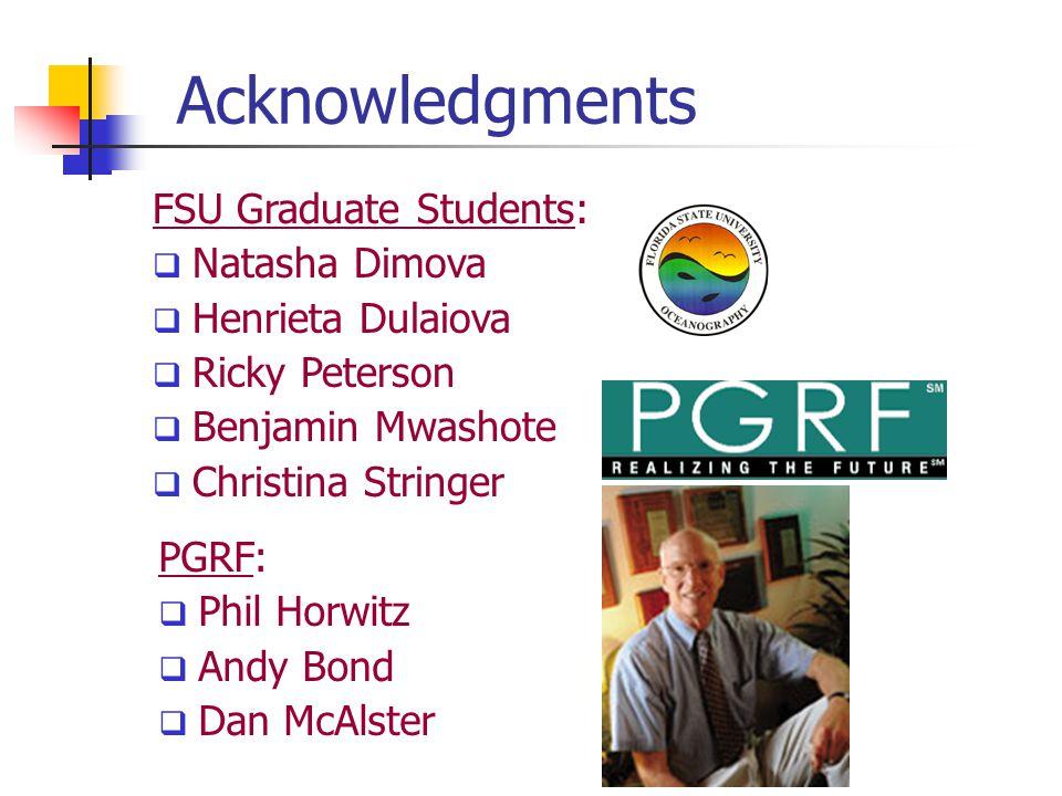 Acknowledgments FSU Graduate Students: Natasha Dimova