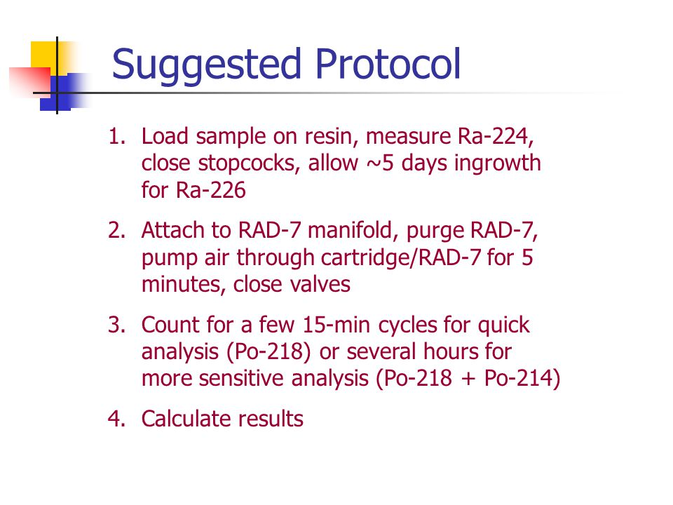Suggested Protocol Load sample on resin, measure Ra-224, close stopcocks, allow ~5 days ingrowth for Ra-226.