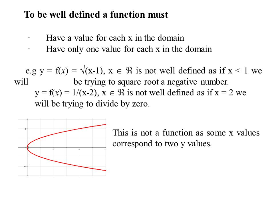 To be well defined a function must