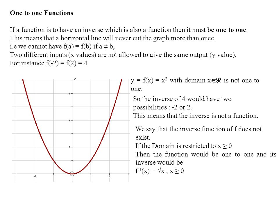 One to one Functions If a function is to have an inverse which is also a function then it must be one to one.