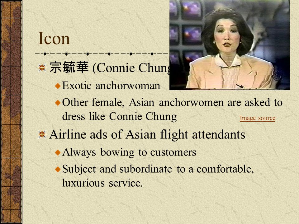 Icon 宗毓華 (Connie Chung) Airline ads of Asian flight attendants