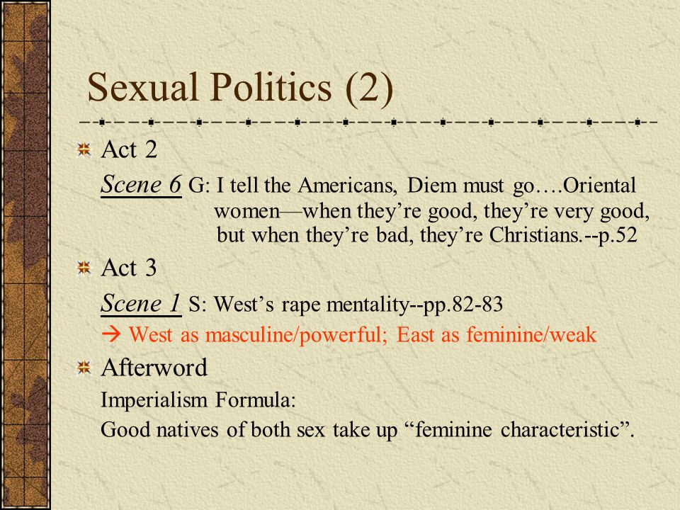 Sexual Politics (2) Act 2.