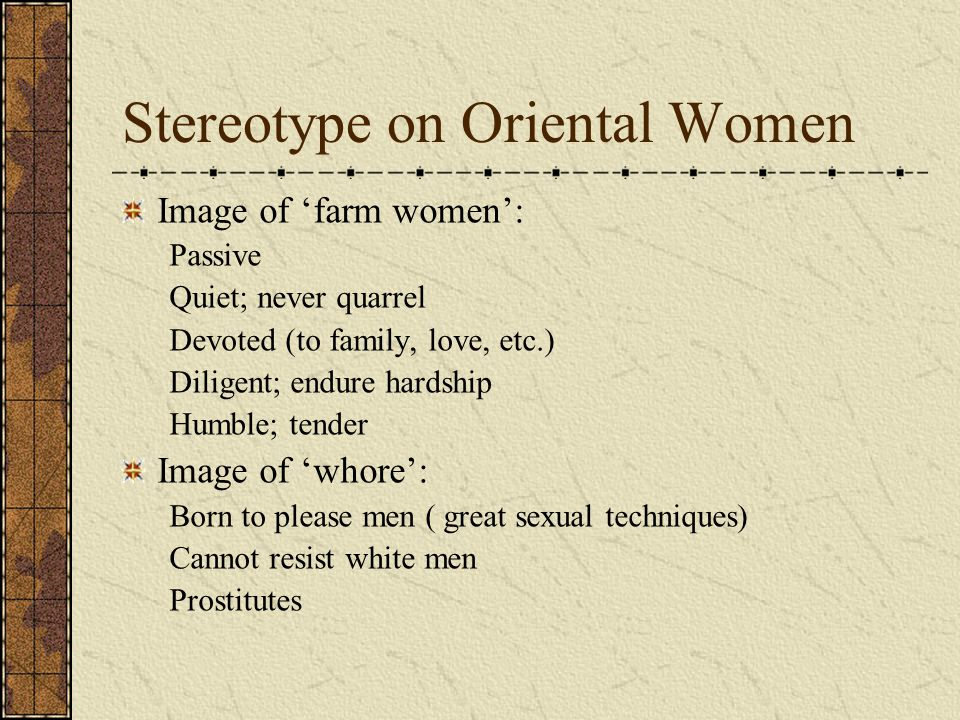 Stereotype on Oriental Women