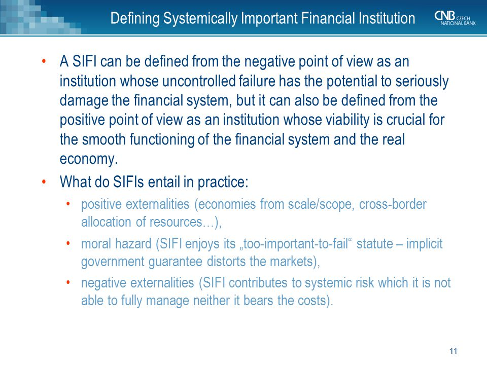 Defining Systemically Important Financial Institution