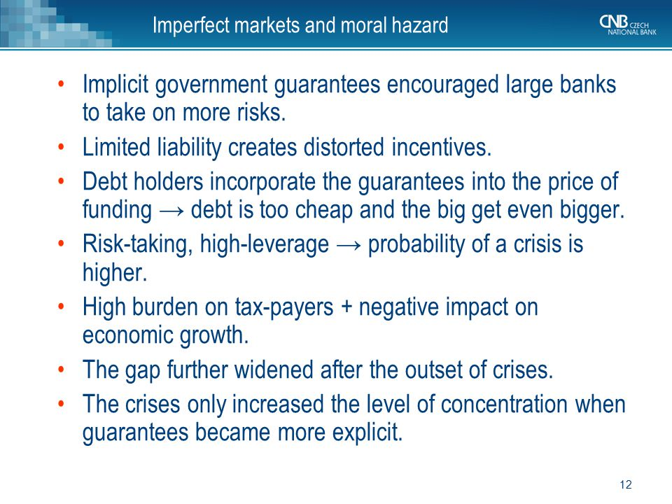 Imperfect markets and moral hazard