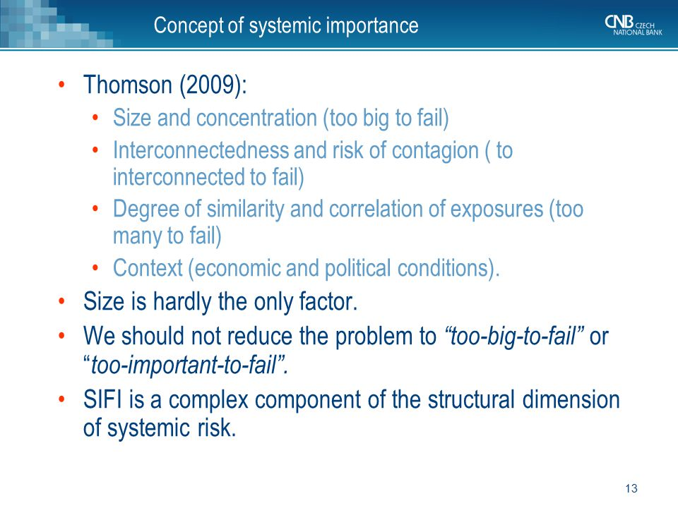 Concept of systemic importance