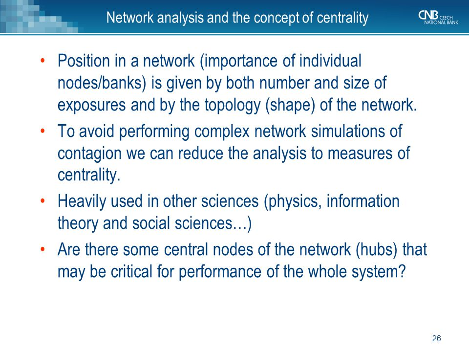 Network analysis and the concept of centrality