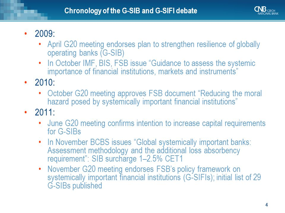 Chronology of the G-SIB and G-SIFI debate