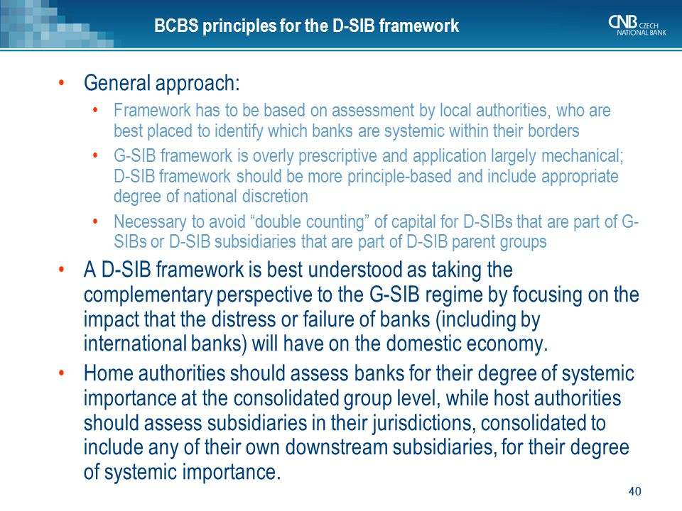 BCBS principles for the D-SIB framework