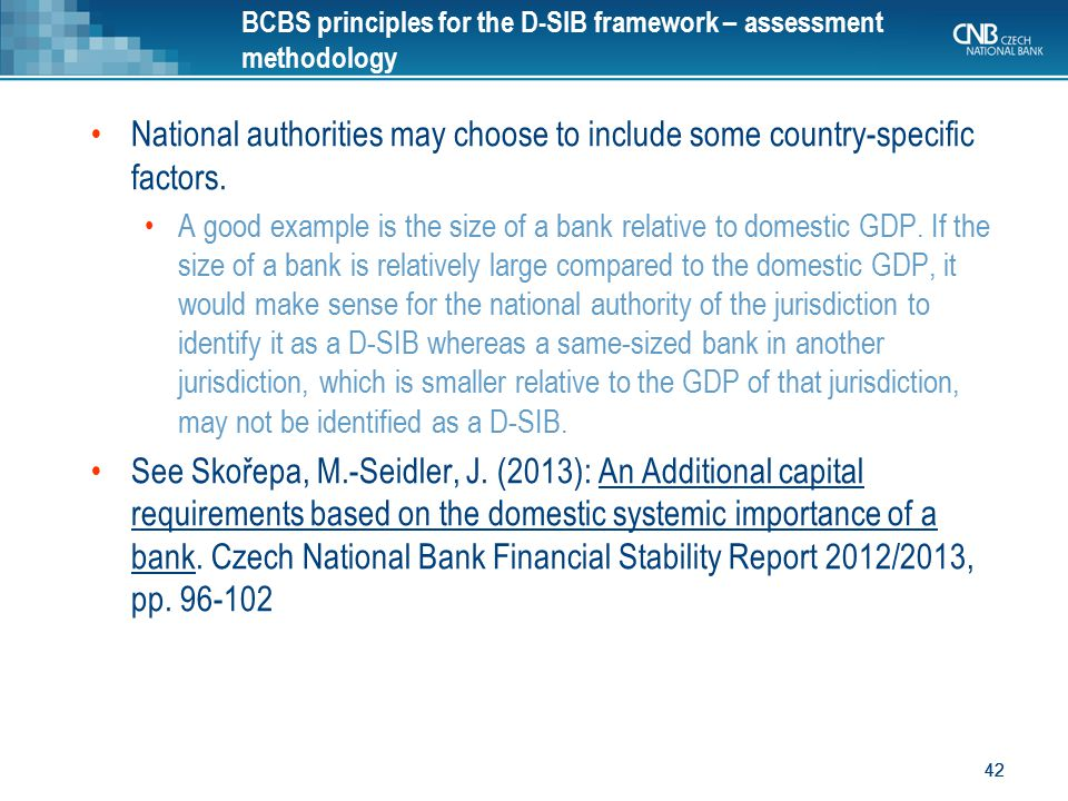 BCBS principles for the D-SIB framework – assessment methodology