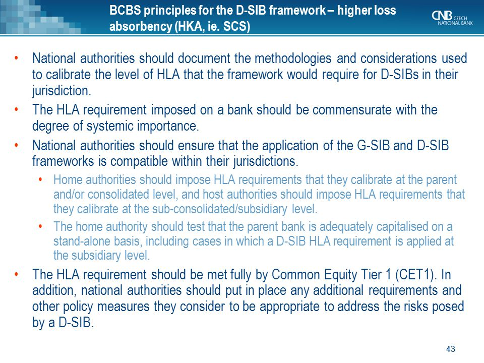 BCBS principles for the D-SIB framework – higher loss absorbency (HKA, ie. SCS)