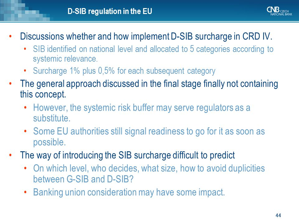 Discussions whether and how implement D-SIB surcharge in CRD IV.
