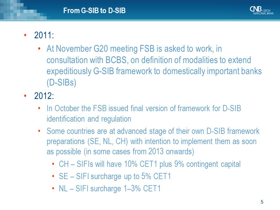 From G-SIB to D-SIB 2011: