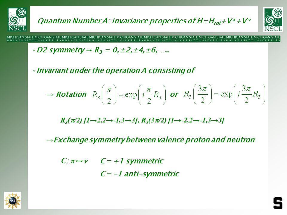 Quantum Number A: invariance properties of H=Hrot+V p+V n